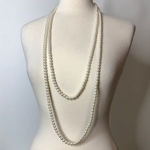 """Sarah Coventry Faux Pearl Necklace Long Strand 80"""""""